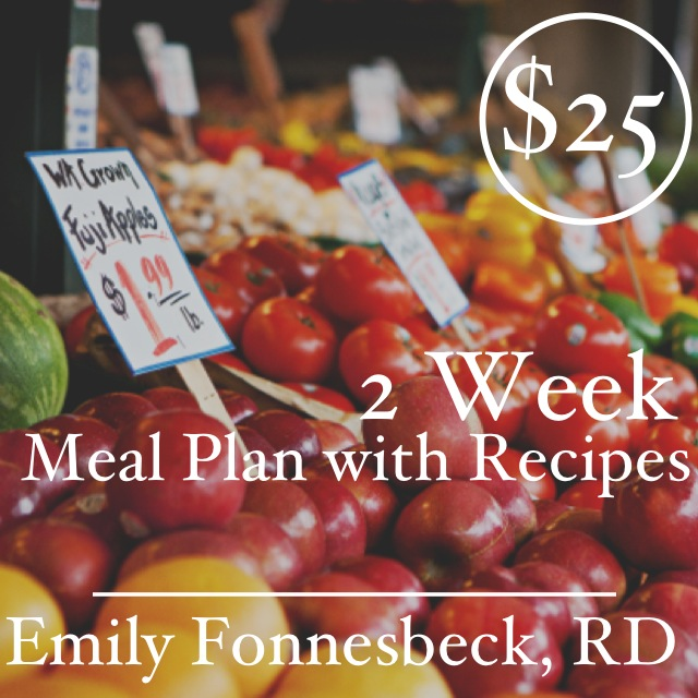 2 Week Meal Plan with Recipes | Emily Fonnesbeck, RD