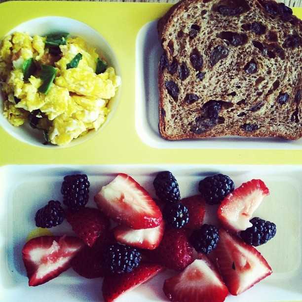 keeping it simple and healthy for our little guy's Easter breakfast | spinach and eggs | Ezekiel sprouted 100 % whole grain cinnamon raisin bread | blackberries and strawberries | Happy Easter!!