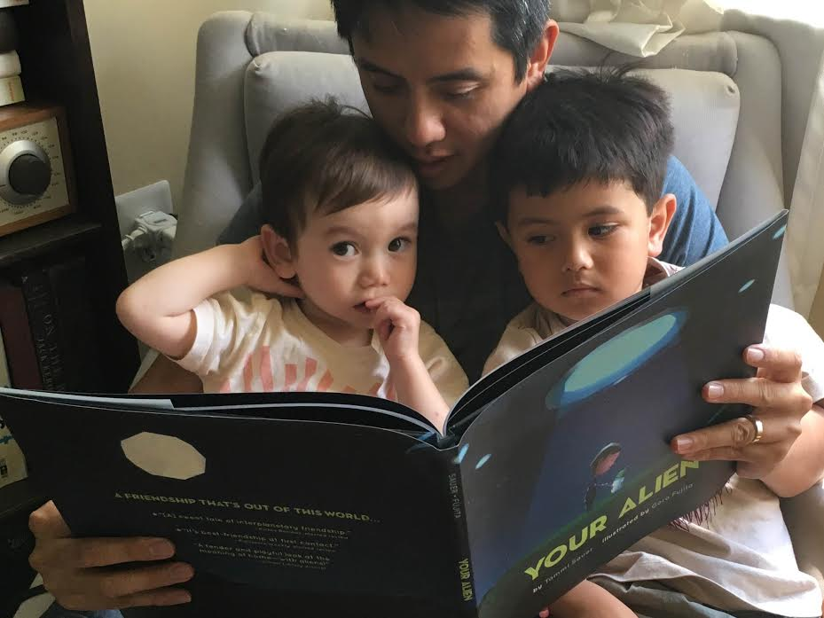 Me and the boys reading Your Alien by Tammi Sauer