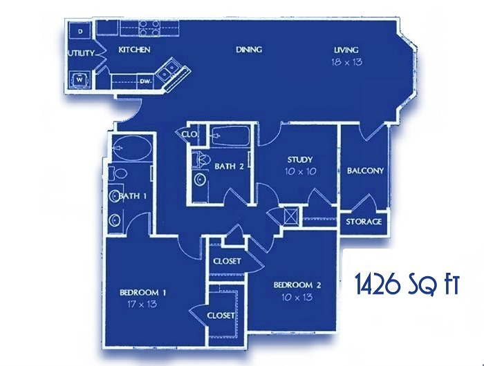 Two Bedroom with Study