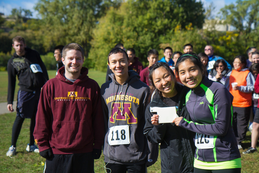 Posting the fastest 10K times: Luke, Jason, Kelly, and Christina