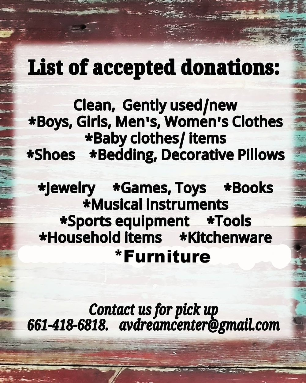 Call for pick up 661-418-6818 or drop off during store hours: Tues-Fri 10 am-5 pm