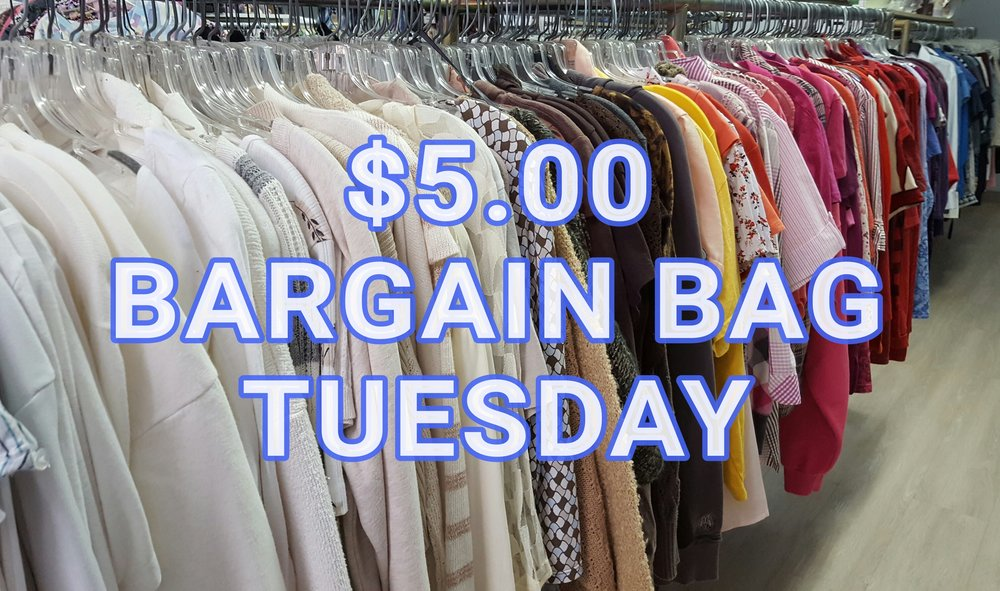 EVERY TUESDAY fill a bag of clothes for just $5!