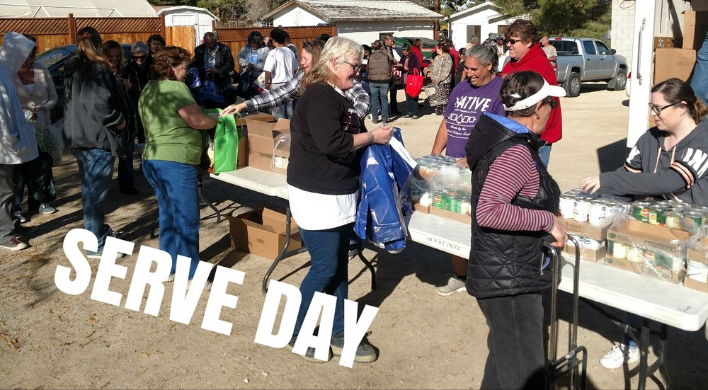 SERVE DAY is held every last Saturday of the month. Volunteers meet at the Joshua Community House at 8:00 a.m. We load up the Mobile Food Trucks to take out to different sites in the AV.     We also have activities at the Joshua Community House starting at 10:30 a.m.
