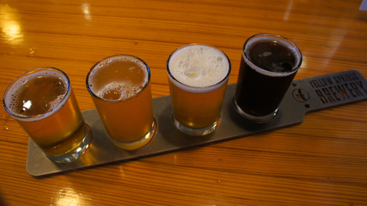 Flight of Yellow Springs Brewing Company.