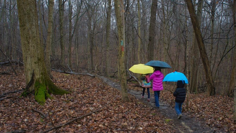 Umbrella hiking.