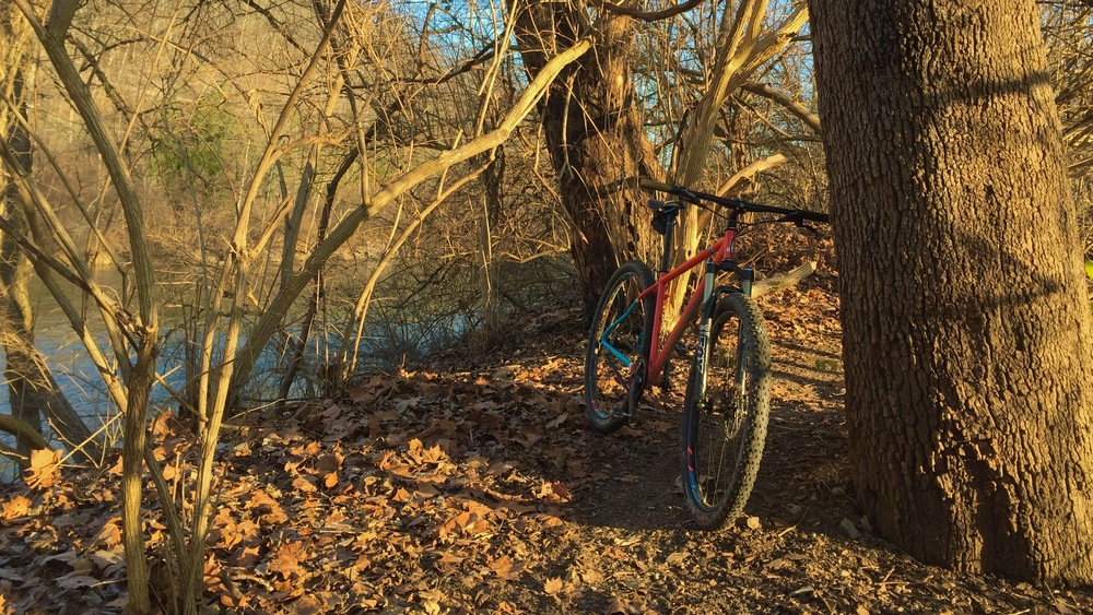 Single track, down by the river.