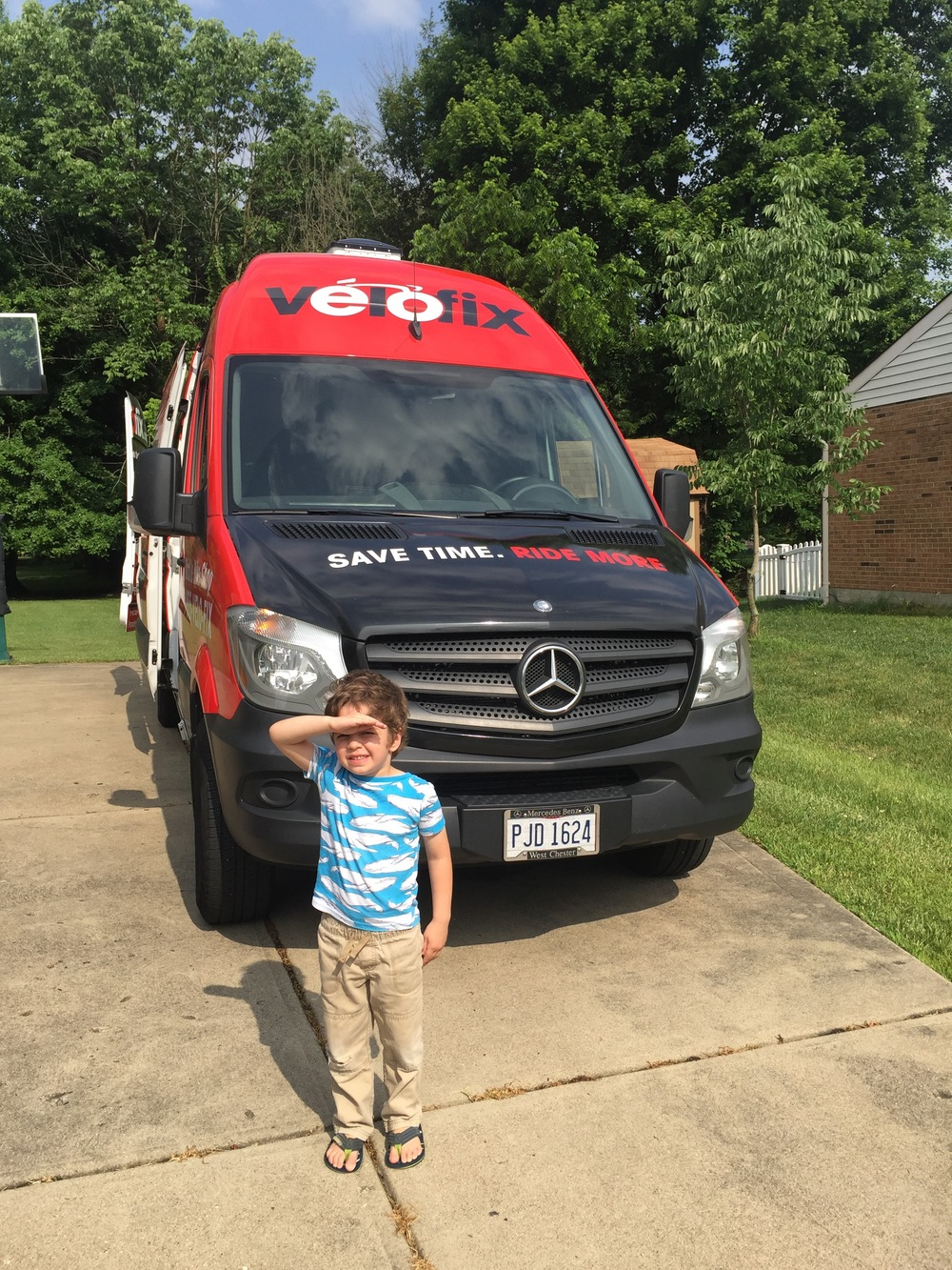 My son was pretty pumped to see this cool van!