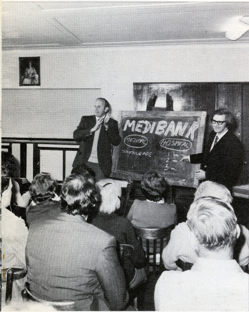 John Ferris interpreting at Medibank education class in 1975