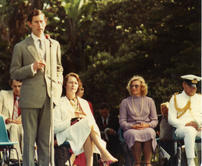 Charlene Grace on the stage with Prince Charles in 1981