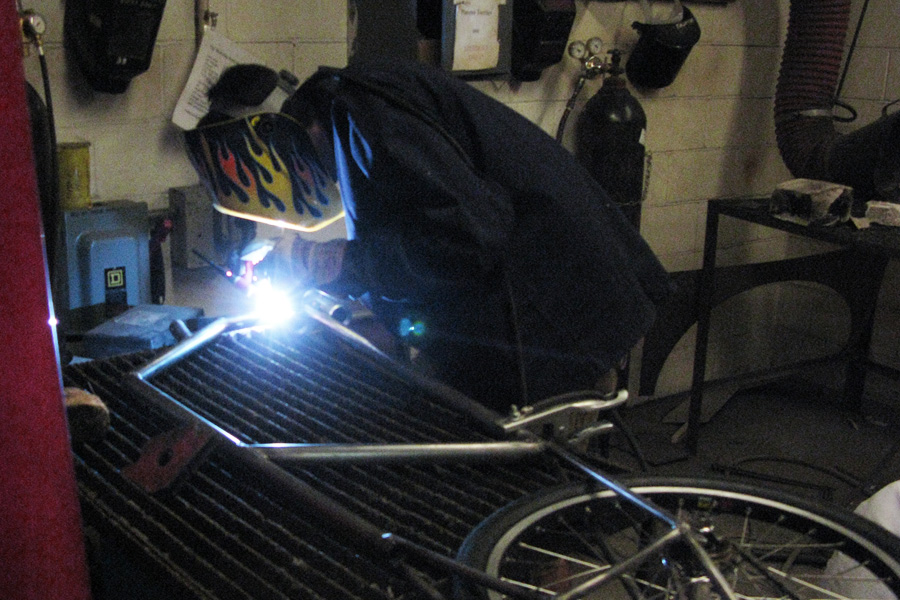 Student learns TIG welding
