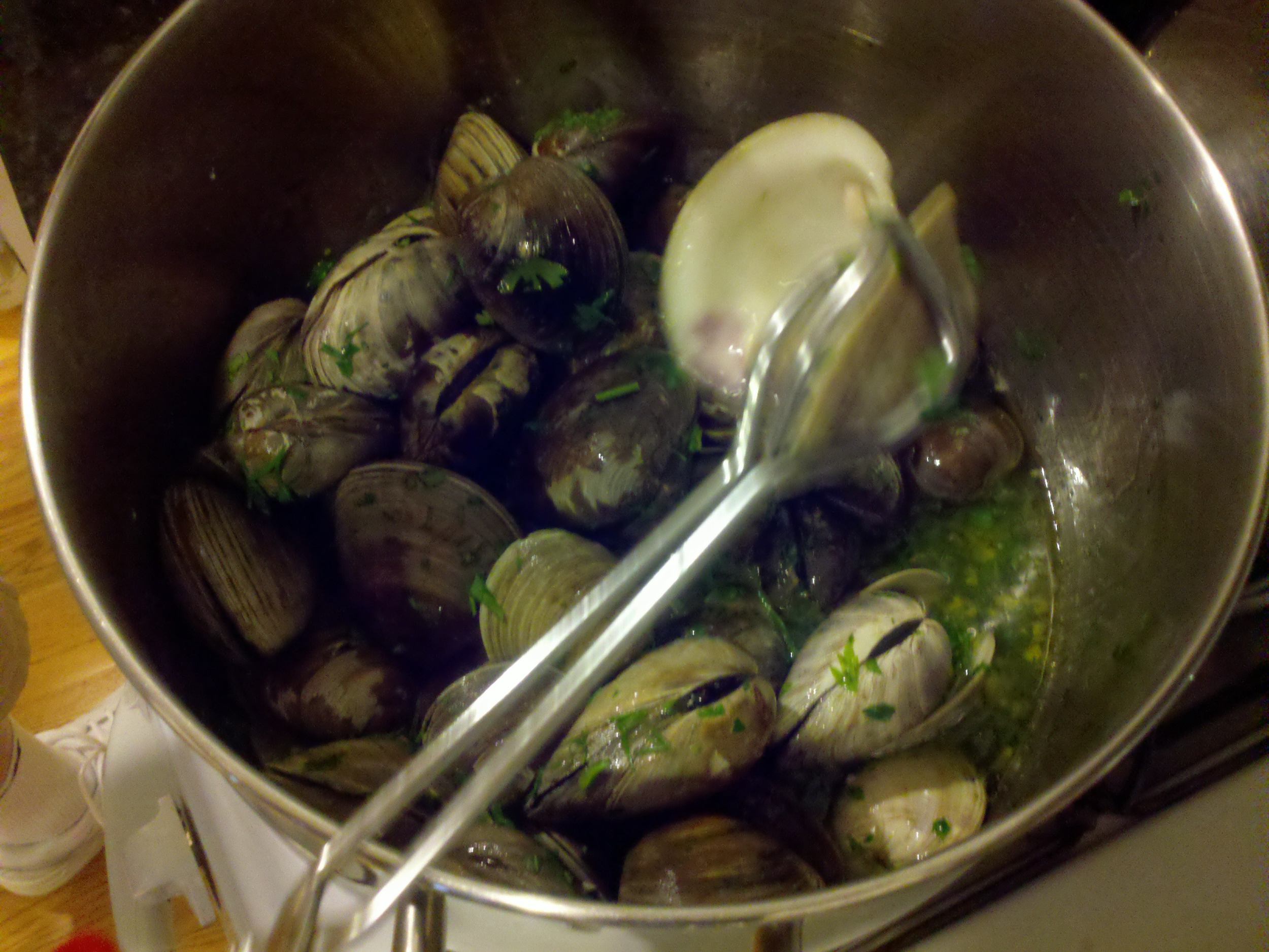 Clams steamed open