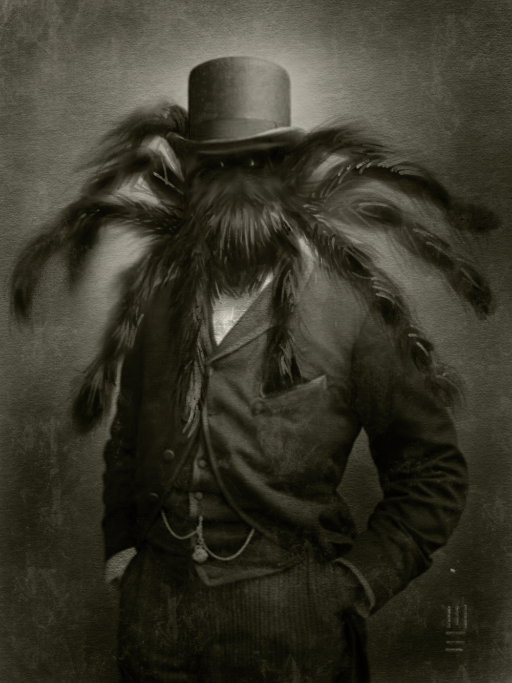 """On Halloween we always throw a big ass party. This year we had a Victorian haunted mansion theme and I did a ton of portraits for the parlor and such.  Monsters Ball - """"Count R'Antchula"""" with the burning eyes."""