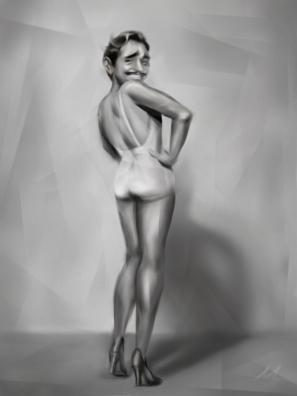 """Clark Grable""  Betty Grable + Clark Gable = Clark Grable.  Riffing on the gorgeous WWII cheesecake shot of Betty 'Gams' Grable. #celebritymashup"