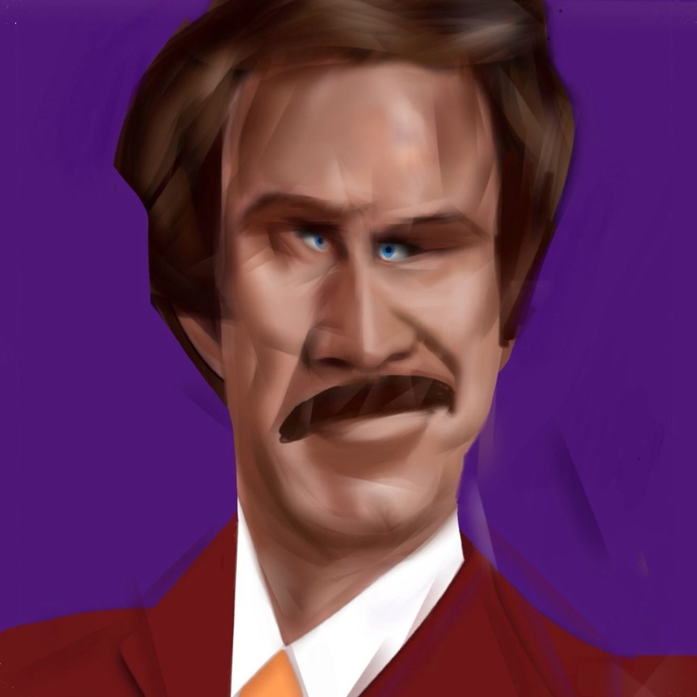 "Will Ferrel, ""Ron Burgundy""   'He had a voice that could make a wolverine purr and suits so fine they made Sinatra look like a hobo. In other words, Ron Burgundy was the balls.'"