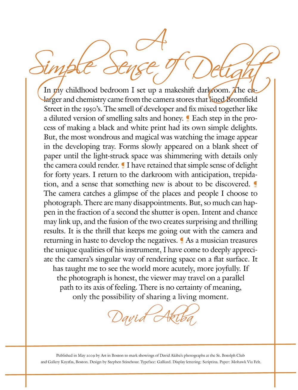 David Akiba, A Sense of Delight