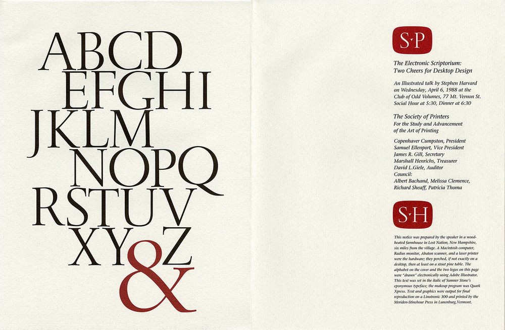 Stephen Harvard calligraphy, hand drawn alphabet, announcement for talk at Society of Printers in Boston, 1980.