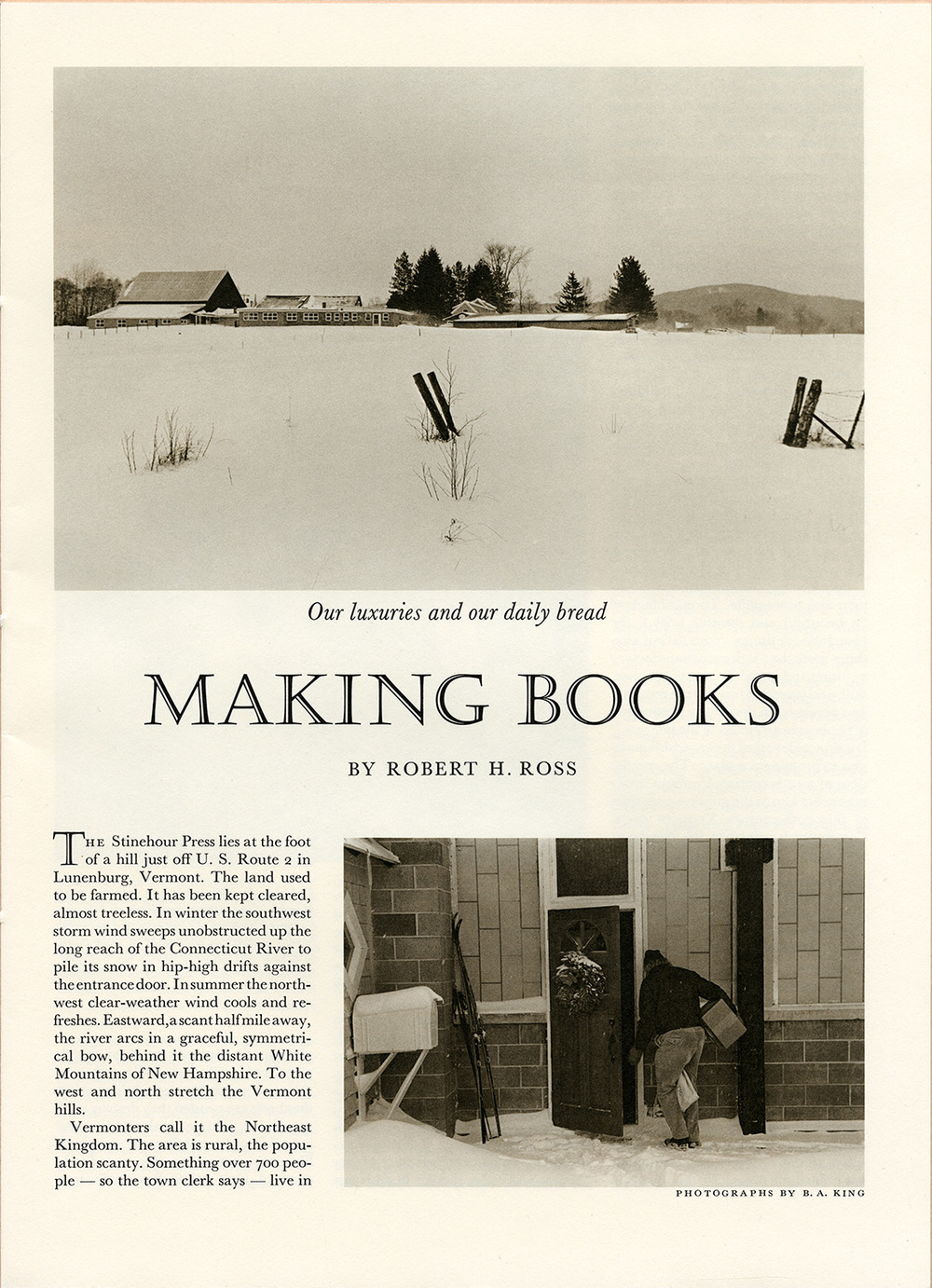 Making Books by Robert H. Ross. Photographs by Tony King. Printed by the Stinehour Press, Lunenburg, Vermont. View of the Stinehour Press buildings.