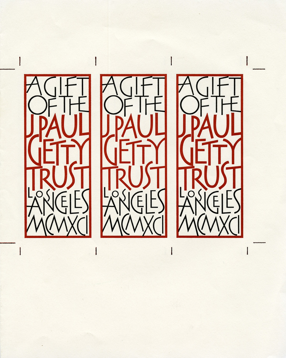 Bookplate for the J. Paul Getty Trust. Design and lettering by Christopher Stinehour.
