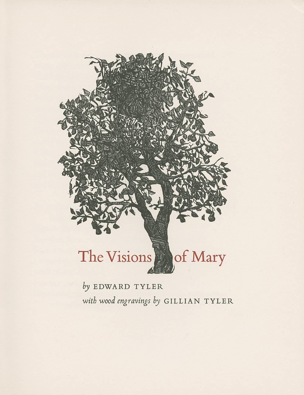 Title page of  The   Visions of Mary , privately printed at The Stinehour Press, 1972.