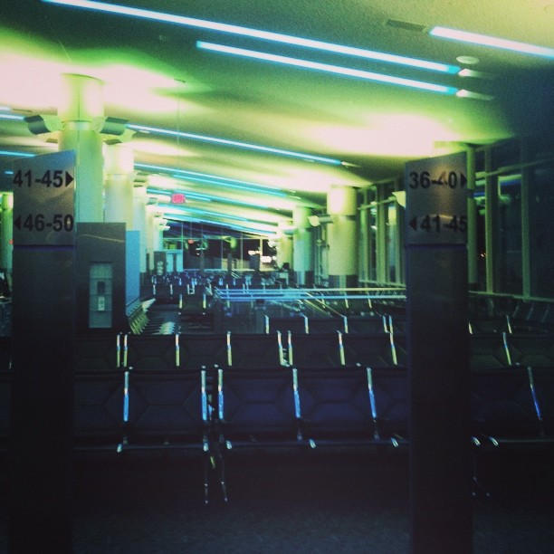 Sleepless in a Milkwaukee airport terminal.