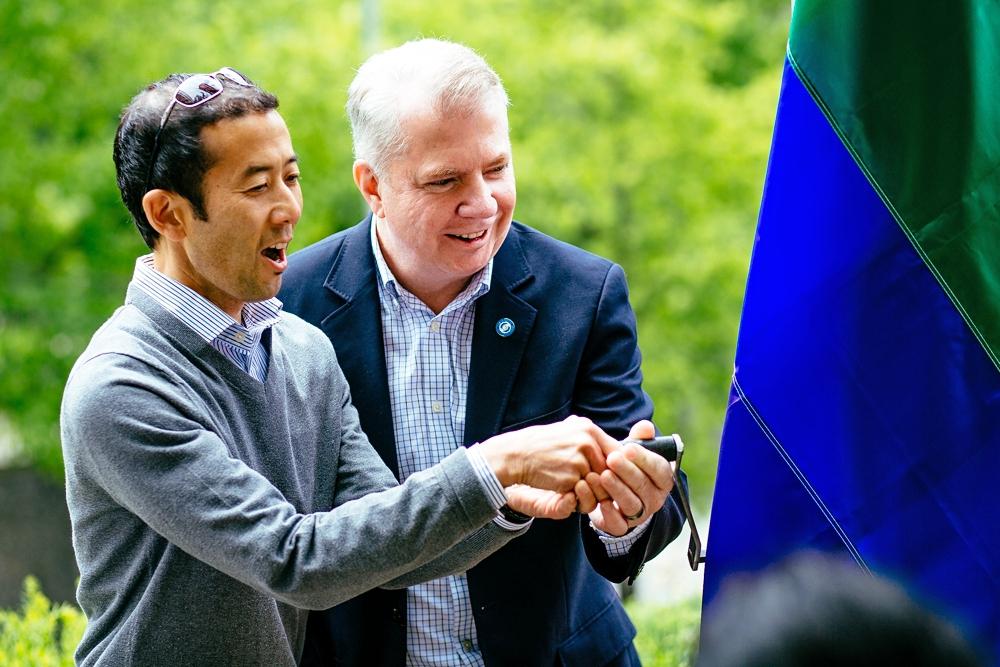 Michael Shiosaki and Mayor Ed Murray