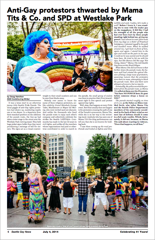 Seattle Gay News' coverage