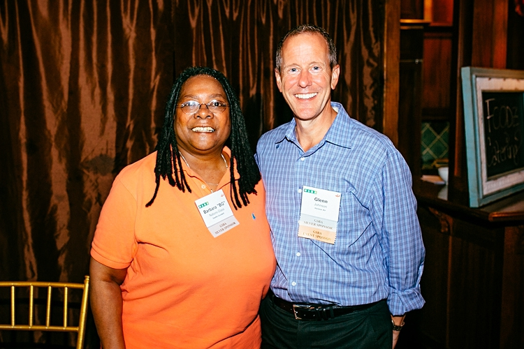 Goodwill Vice President Goodwill  Barbara Nabors-Glass  with  Horizon Air President  Glenn Johnson