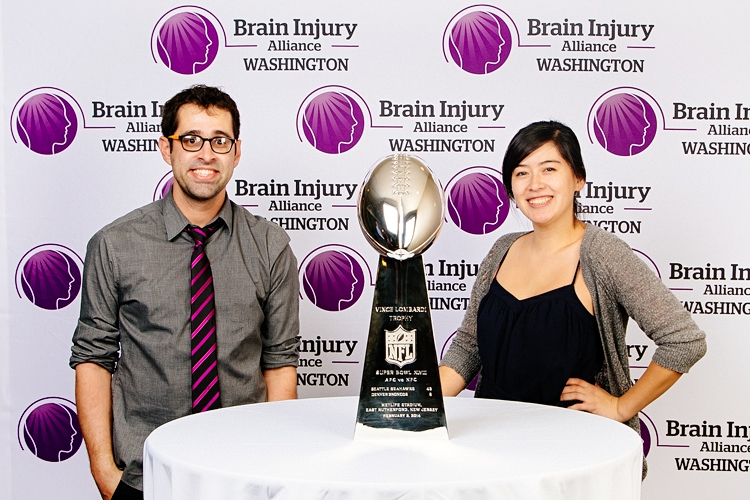 With my assistant Jennifer DeLeo and the Vince Lombardi Trophy, Seattle, WA, November 2104. Photo by Bob Snell.