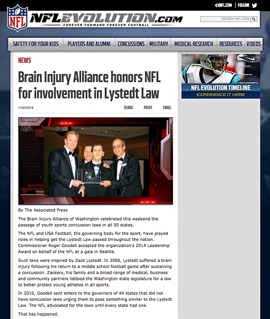 http://www.nflevolution.com/article/brain-injury-alliance-honors-nfl-for-involvement-in-lystedt-law?ref=0ap3000000422475