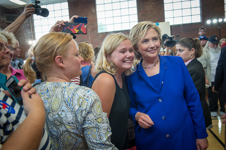 Photo by Barb Kinney on behalf of Hillary for America. Link:  https://www.flickr.com/photos/hillaryclinton/21017296043/