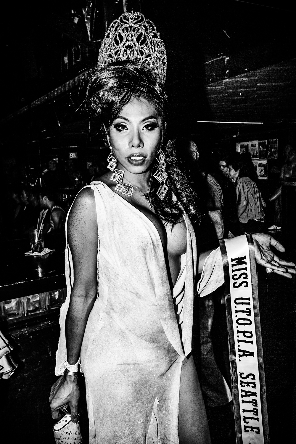 Performer Tanya Rachinee poses for the camera at a drag pageant at Neighbours Nightclub on September 24th, 2011, in Seattle.