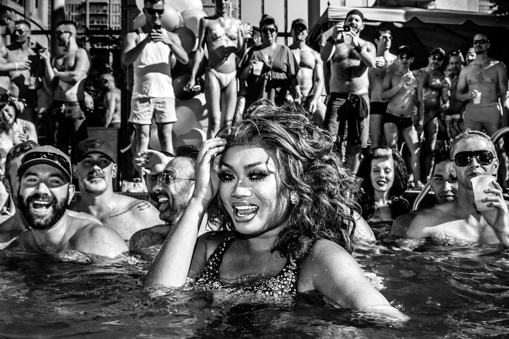 Jujubee of RuPaul's Drag Race face performs in the pool at a Pride party in Vancouver, BC, on August 4th, 2012.