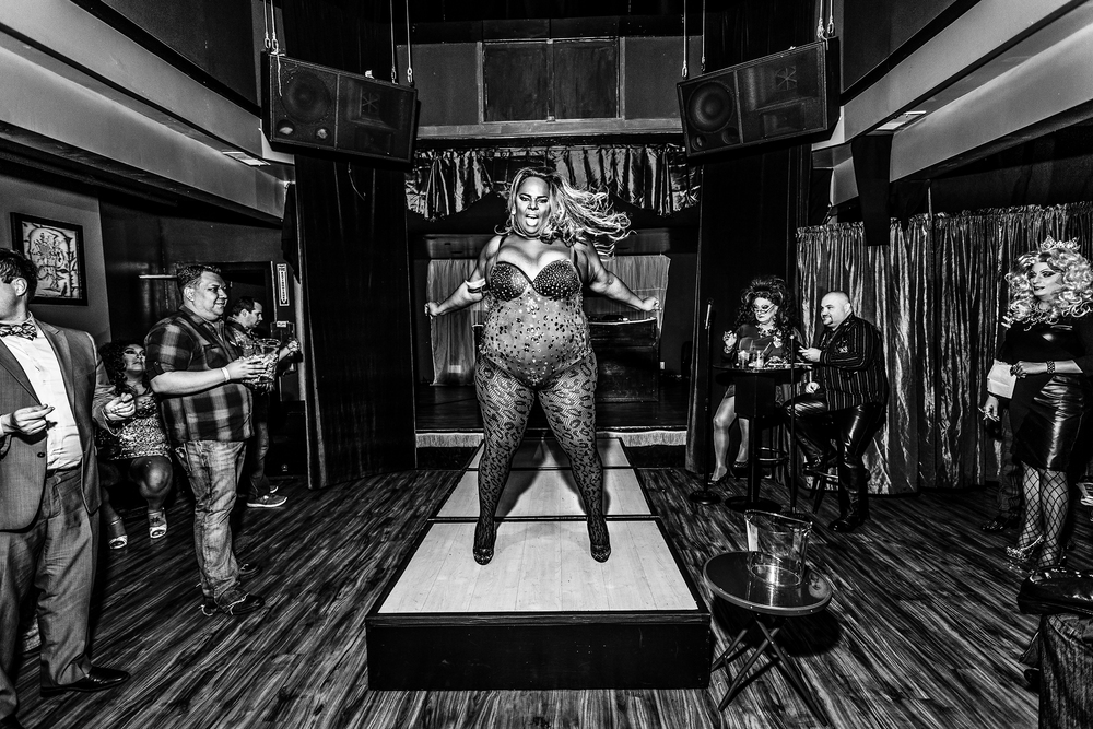 Beyonce DeLuxe Black St-James, based in Seattle, performs at a drag show in San Francisco on February 14th, 2015. The sevent was hosted by the Imperial Court of San Francisco.