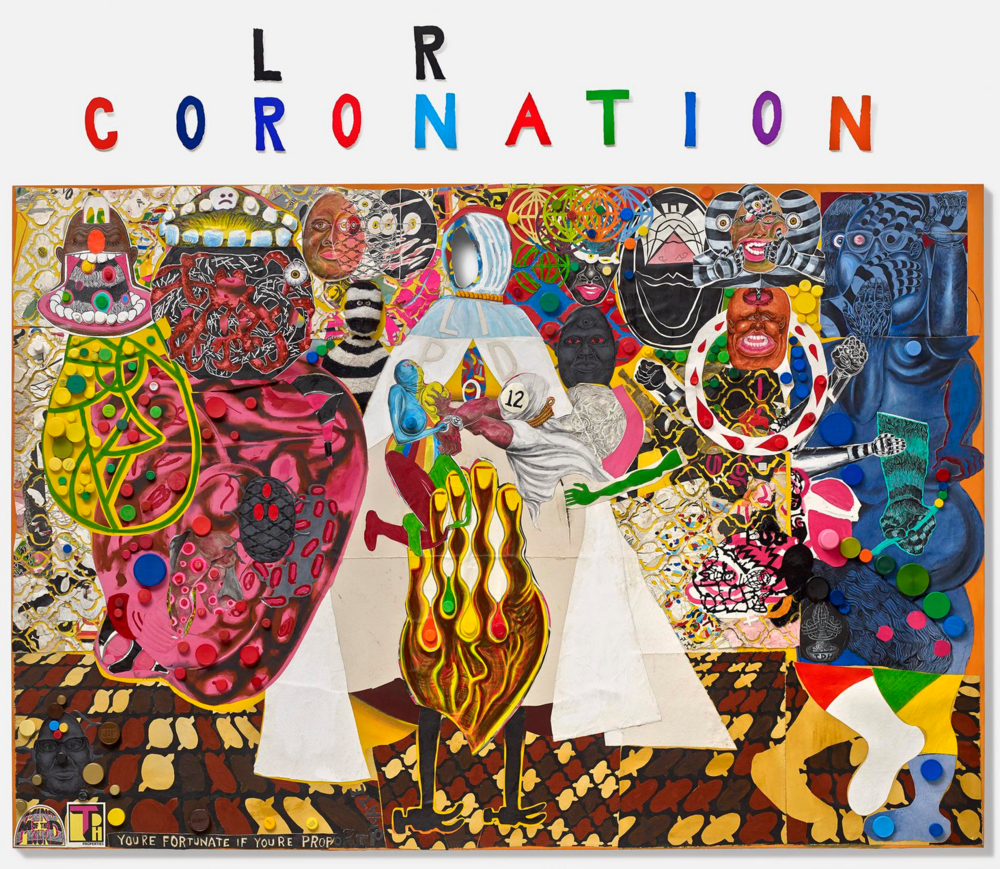 Hancock's completed work: Coloration Coronation, 2016    Acrylic and mixed media on canvas 90 x 132 inches