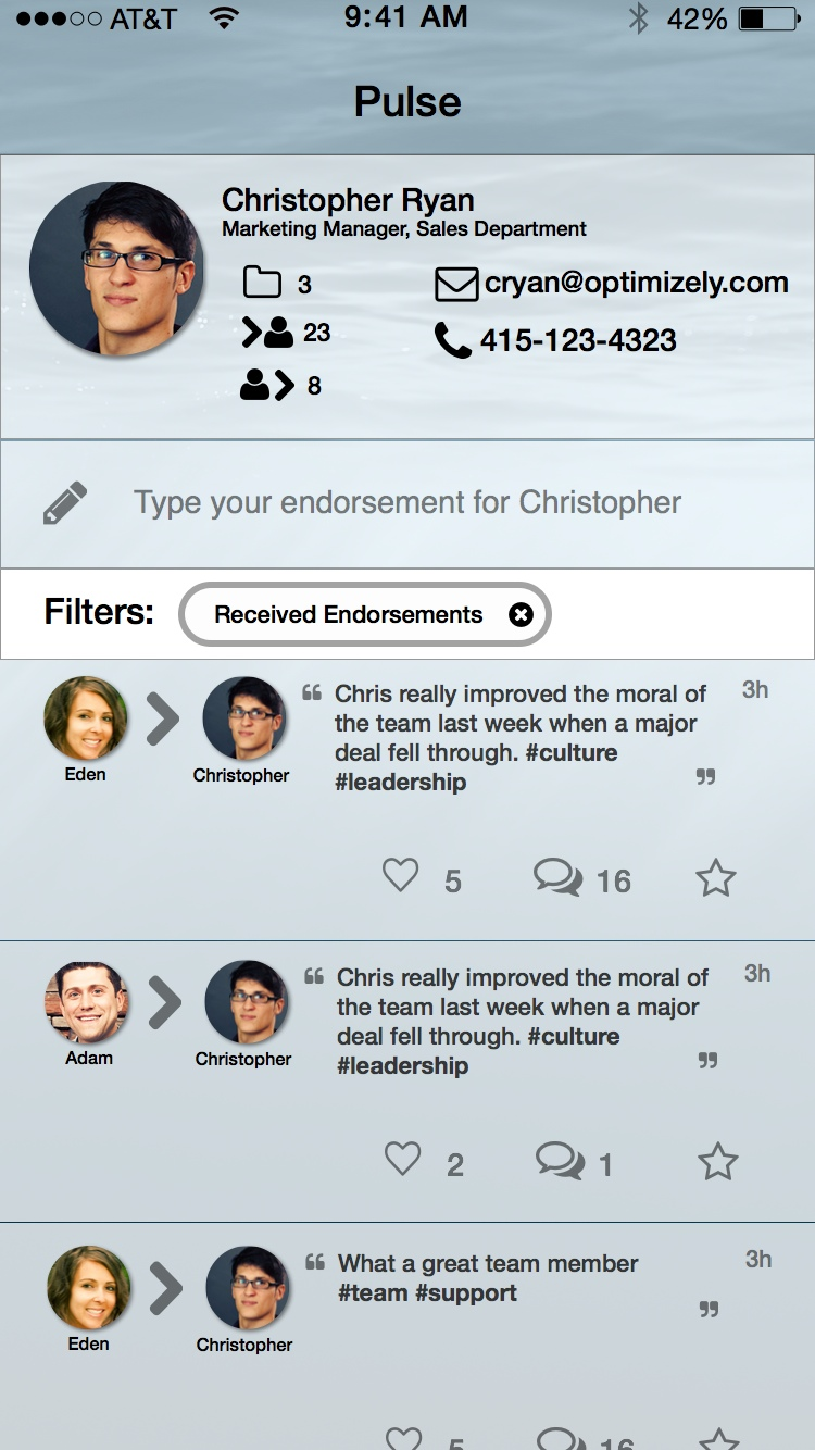 "Received Endorsement Filter ""on"".  The view state which shows only the endorsements received"