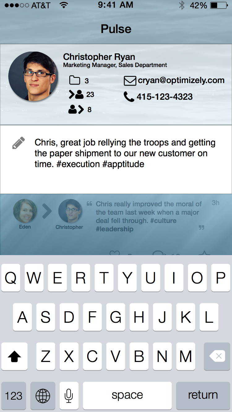 Endorsement Input Field.  User enters the endorsement text.