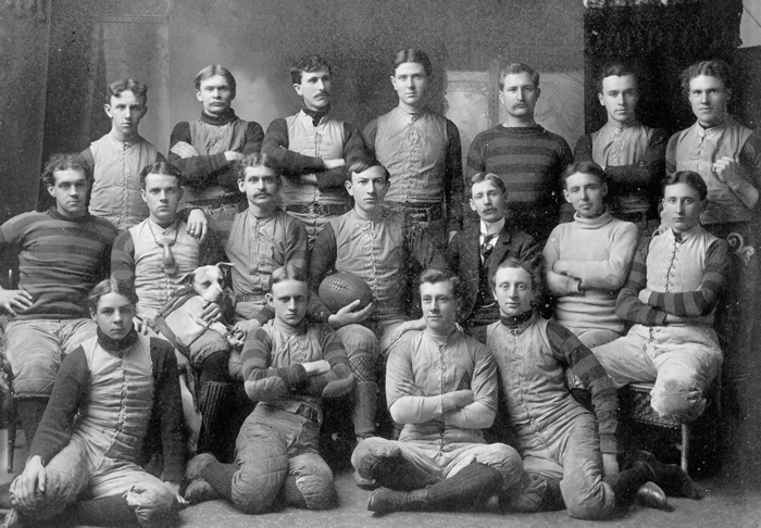 a college football team circa 1920. Strength in character, striped wool sport jerseys, and heavy cotton canvas padded pants. It's always fashionable to keep it real. They 're all doing a good job of that. Manly without being Beastly.