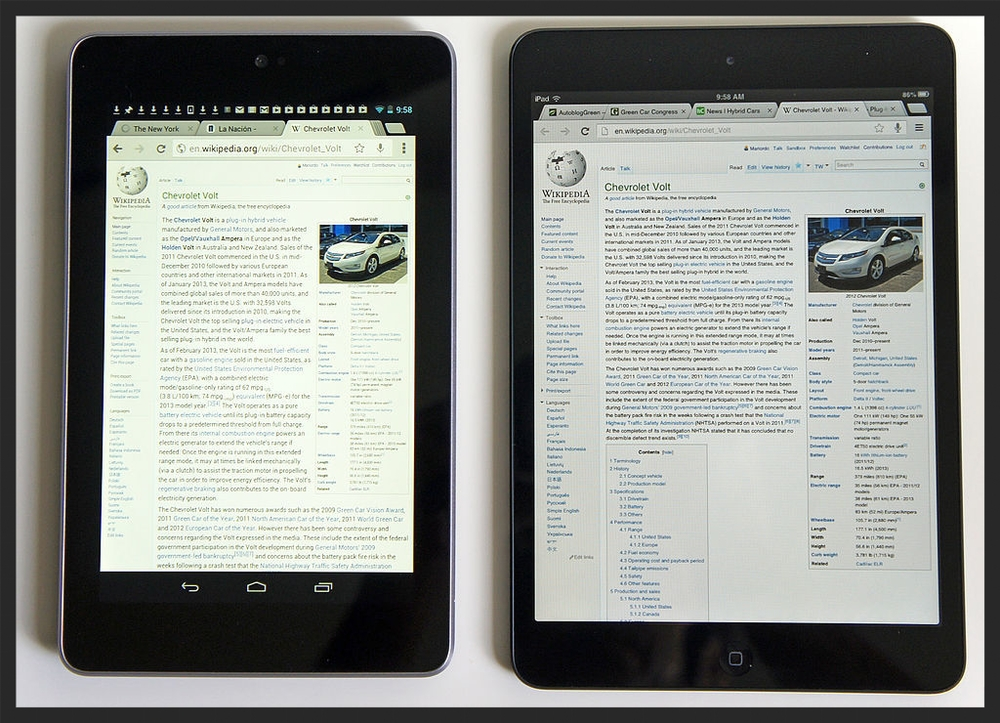 "7"" 16:9 vs 7.9"" 4:3 - The iPad Mini's Screen is 35% larger."
