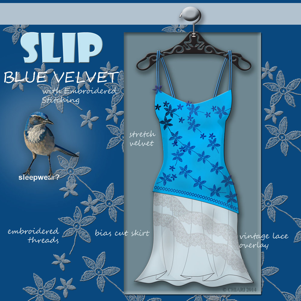 Sleepwear Trend:CHIARIstyle Blue Velvet Slip with bias cut skirt.