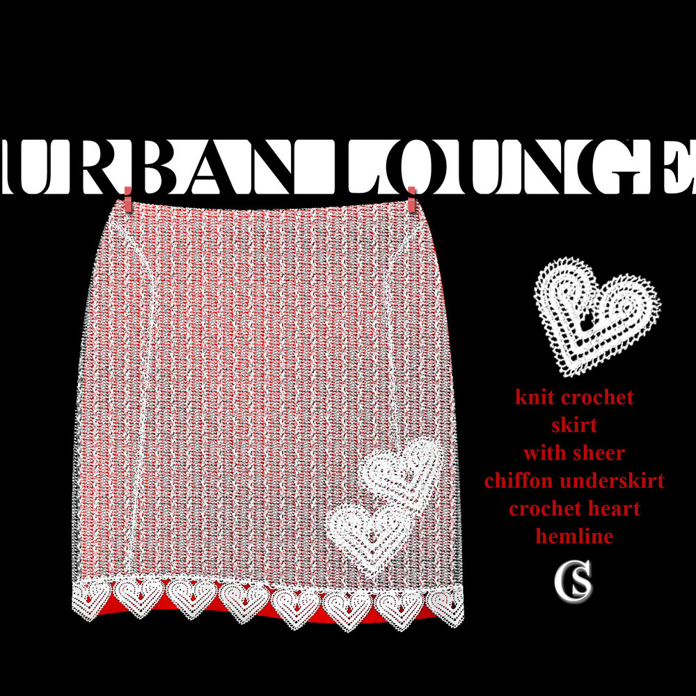 Crochet skirt with red under-layer CHIARIstyle