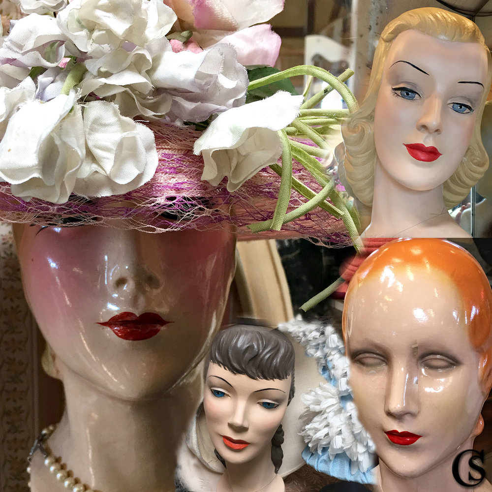 Cannery Row Millinery and Mannequin heads CHIARIstyle