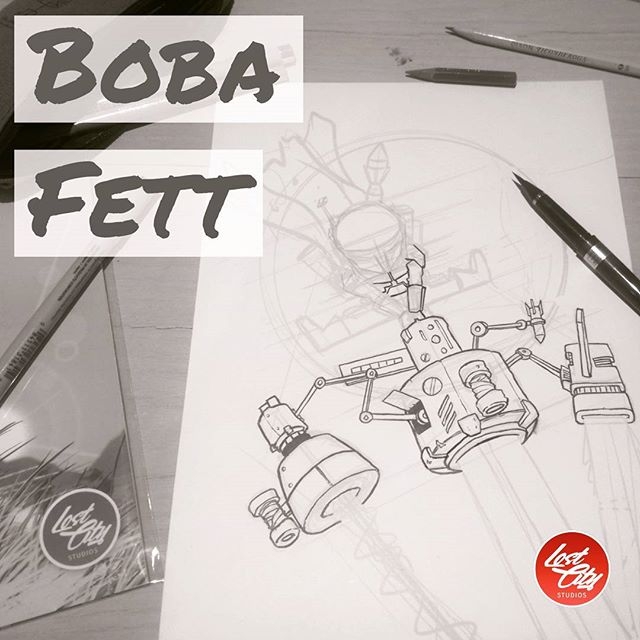 Working on a Boba Fett print for comic con this year. #starwars #BobaFett #art #artist