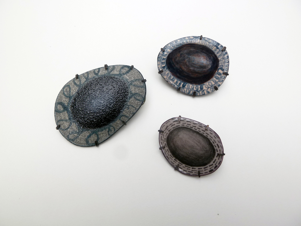Beach Stone Studies, enamel on copper, 2012