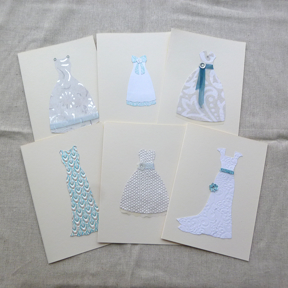 Wedding Gown Note Cards in Something Blue