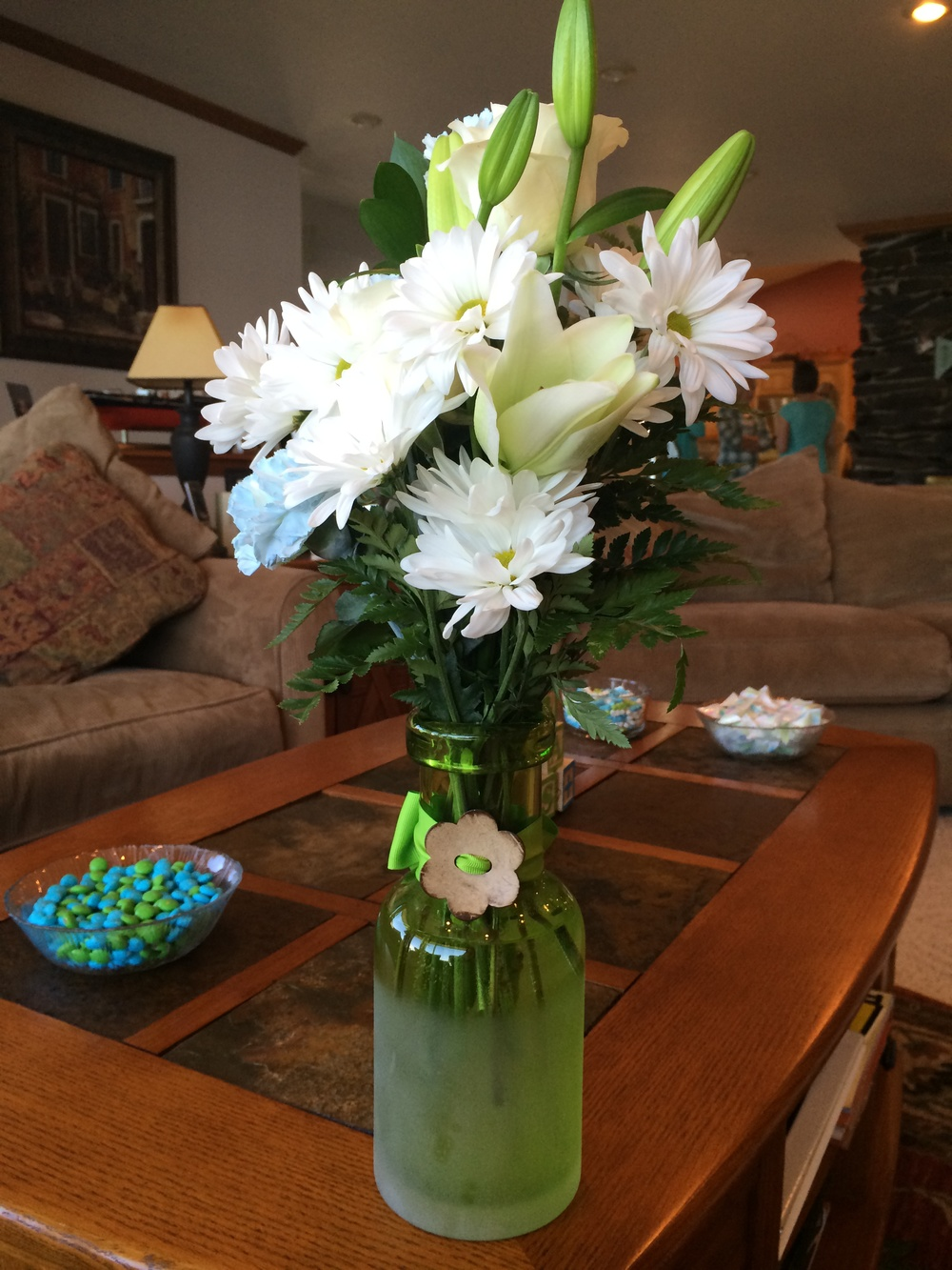 Lovely flower arrangements that were given to special family members by Dru,  the generous hostess...