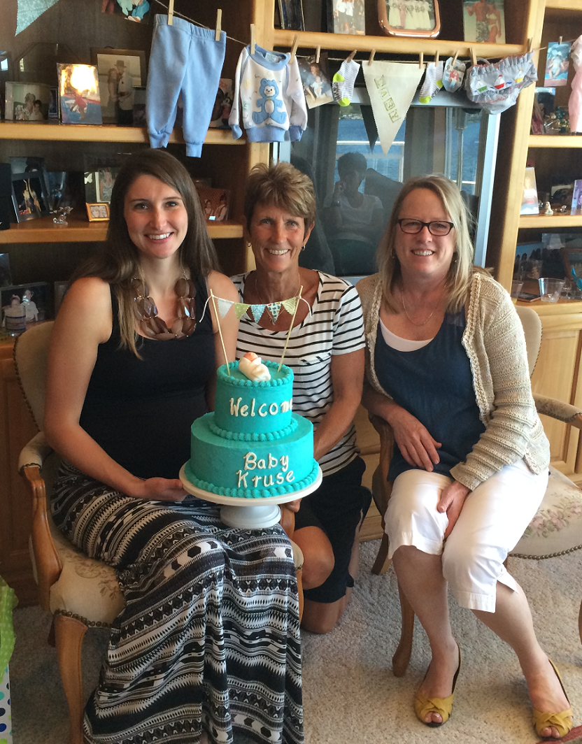 Mother-to-be, maternal and paternal grandmother-to-be...first grandchild on both sides...just a little happy!!!