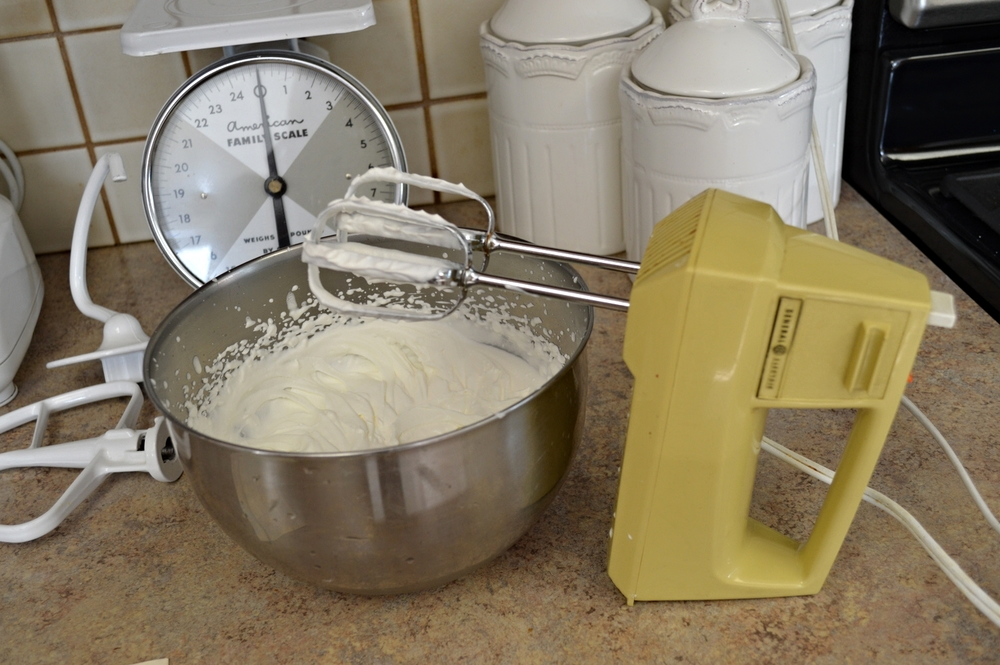 Whipping cream...with my trusty harvest gold mixer I received in a bridal shower!
