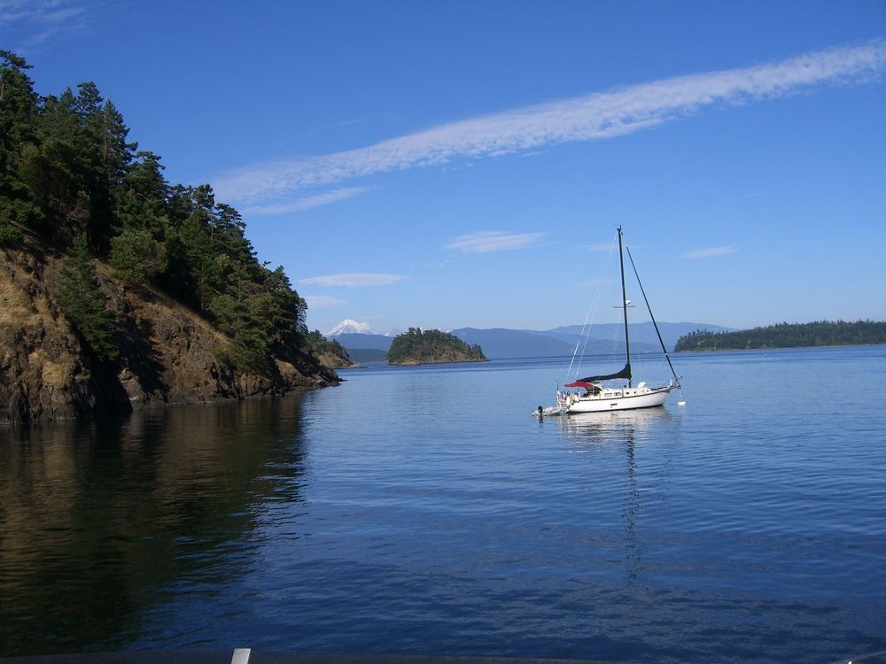 A sailboat outside of Anacortes...