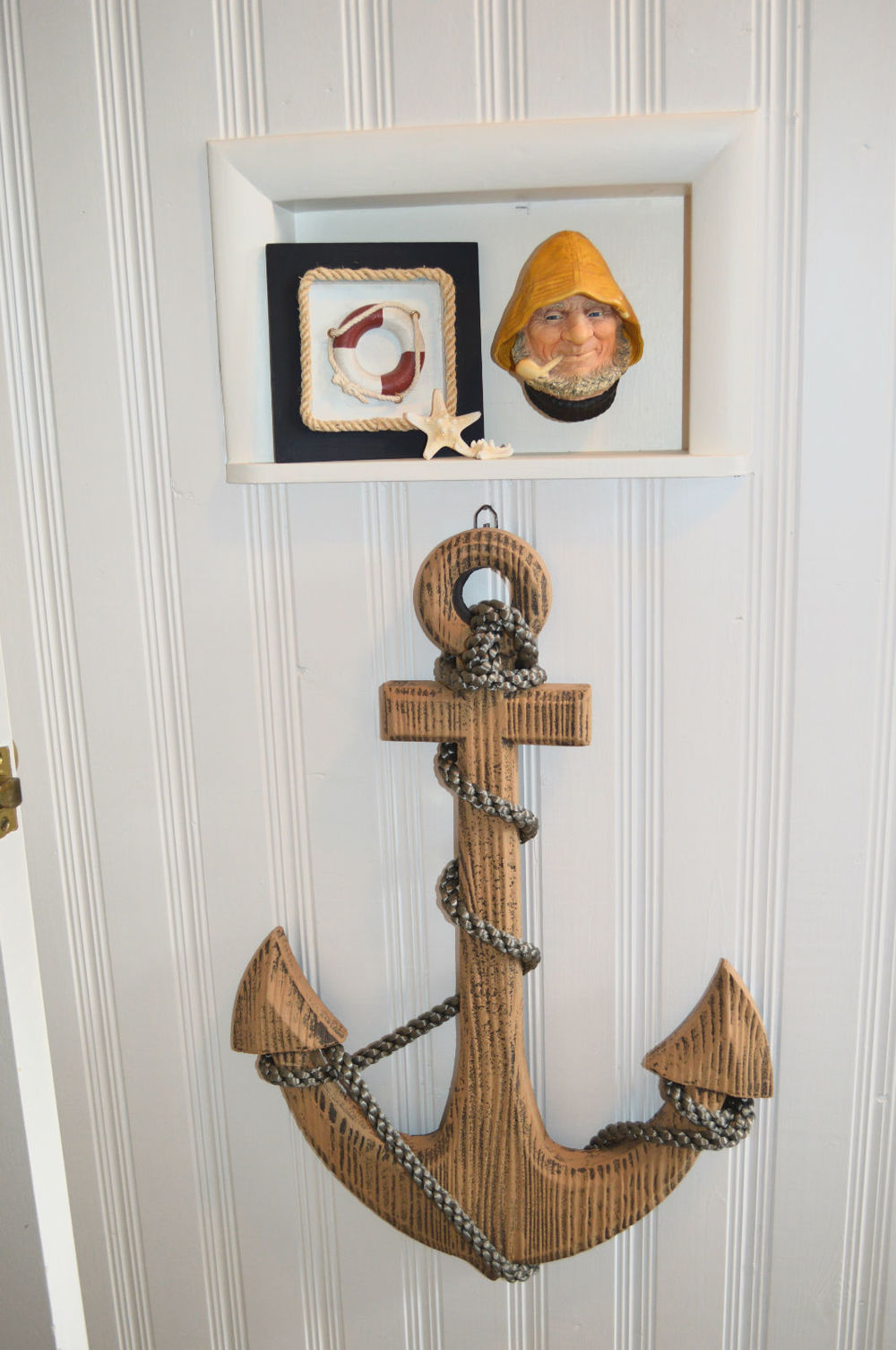 Bosson fisherman head found on Etsy...anchor from Hobby Lobby.